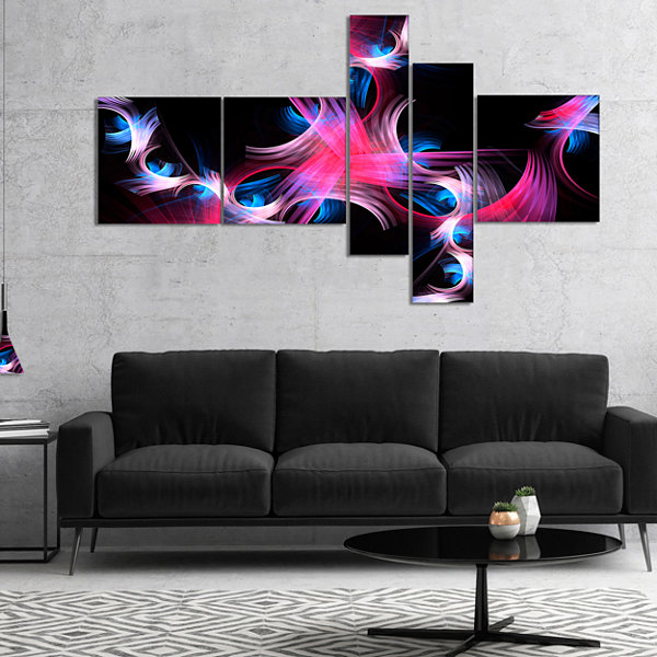 Designart Purple Blue Fractal Flowers MultipanelFloral Canvas Art Print - 5 Panels
