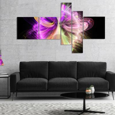 Designart Purple Circle With Amazing Curves Multipanel Floral Canvas Art Print - 4 Panels