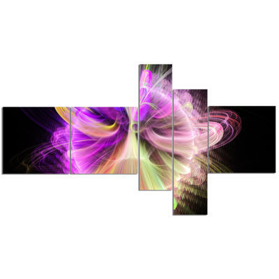 Designart Purple Circle With Amazing Curves Multipanel Floral Canvas Art Print - 5 Panels