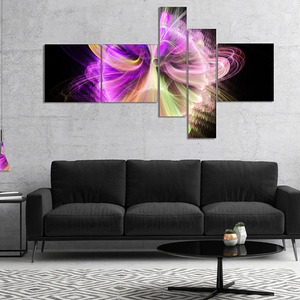 Design Art Purple Circle With Amazing Curves Multipanel Floral Canvas Art Print - 5 Panels