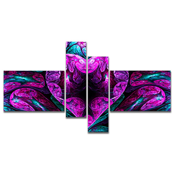 Designart Purple Cold Mystical Heart Multipanel Floral Canvas Art Print - 4 Panels