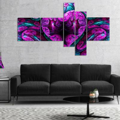 Designart Purple Cold Mystical Heart Multipanel Floral Canvas Art Print - 5 Panels