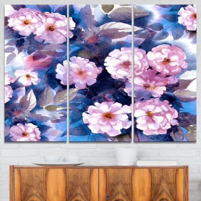Designart White Briar In Classical Style Floral Art Canvas Print - 3 Panels
