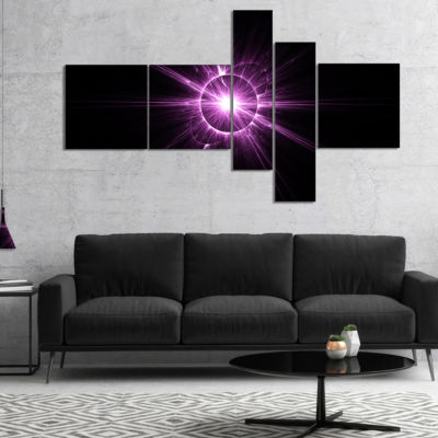 Designart Purple Flash Of Bright Star MultipanelFloral Canvas Art Print - 5 Panels
