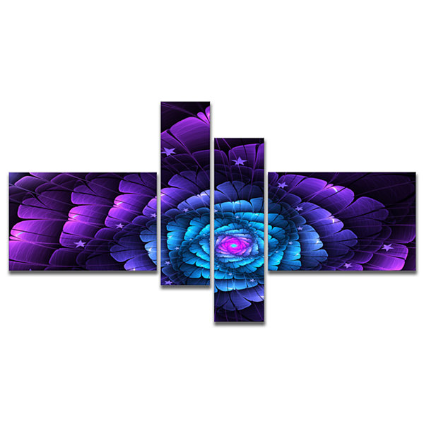 Designart Purple Fractal Flower In Dark MultipanelFloral Canvas Art Print - 4 Panels