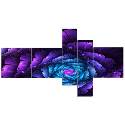 Designart Purple Fractal Flower In Dark MultipanelFloral Canvas Art Print - 5 Panels