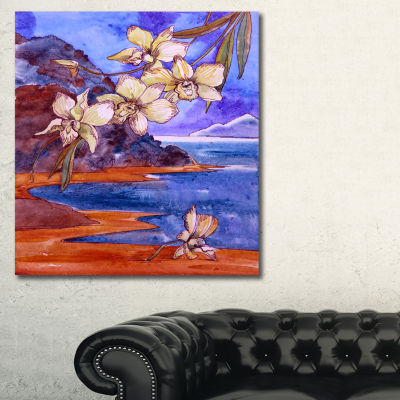 Designart White Orchid With Sea Floral Art CanvasPrint