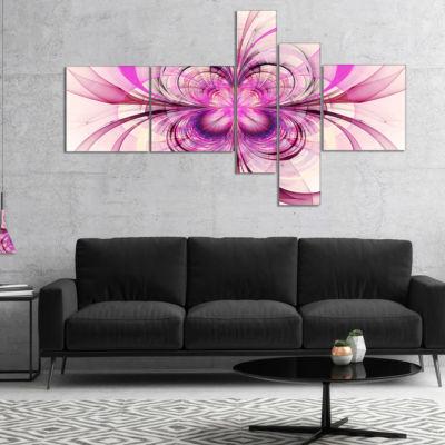 Designart Purple Fractal Flower Pattern MultipanelFloral Art Canvas Print - 5 Panels