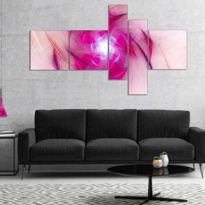 Designart Purple Fractal Nuclear Reaction Multipanel Floral Canvas Art Print - 5 Panels