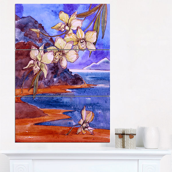 Design Art White Orchid With Sea Floral Art CanvasPrint - 3 Panels