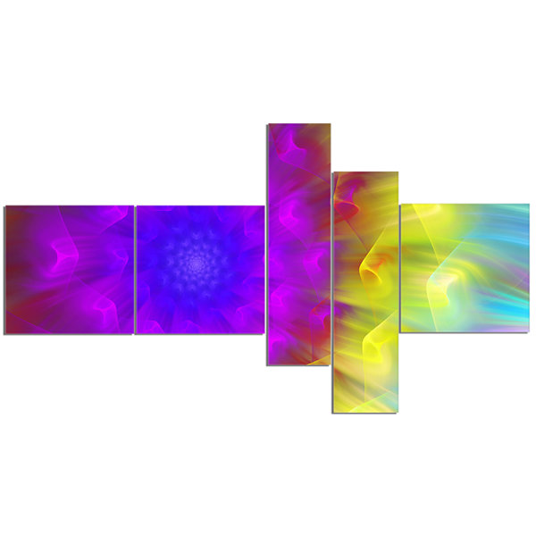 Designart Purple Fractal Petals Dandelion Multipanel Floral Canvas Art Print - 5 Panels