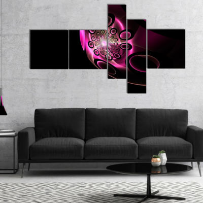 Designart Purple Fractal Sphere In Dark MultipanelFloral Canvas Art Print - 4 Panels