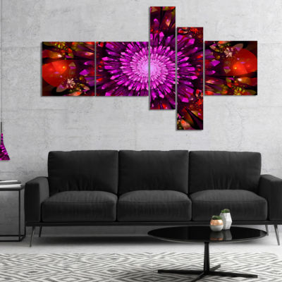 Designart Purple Glowing Crystals In Space Multipanel Floral Canvas Art Print - 4 Panels