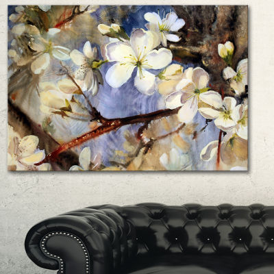 Designart White Spring Flowers Floral Art Canvas Print