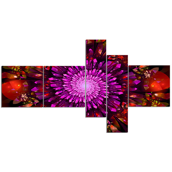 Designart Purple Glowing Crystals In Space Multipanel Floral Canvas Art Print - 5 Panels