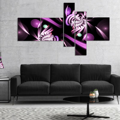 Designart Purple On Black 3D Surreal Art Multipanel Floral Canvas Art Print - 4 Panels