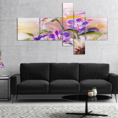 Designart Purple Wildflowers Multipanel Floral ArtCanvas Print - 4 Panels