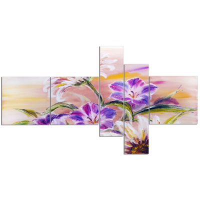 Designart Purple Wildflowers Multipanel Floral ArtCanvas Print - 5 Panels
