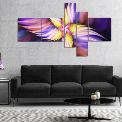 Designart Purple Yellow Rotating Flower MultipanelFloral Canvas Art Print - 5 Panels