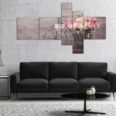 Designart Ranunculus Flowers In Bicycle Vase Multipanel Floral Canvas Art Print - 4 Panels