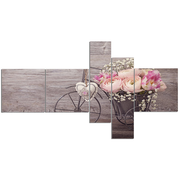 Designart Ranunculus Flowers In Bicycle Vase Multipanel Floral Canvas Art Print - 5 Panels