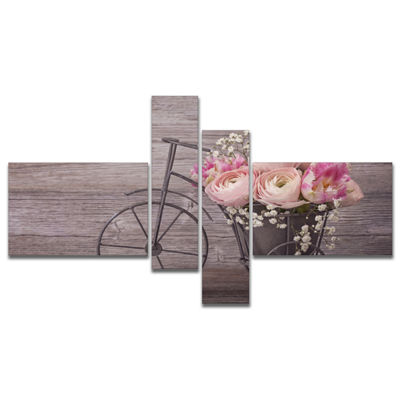 Designart Ranunculus Flowers On Bicycle MultipanelFloral Canvas Art Print - 4 Panels