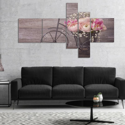Designart Ranunculus Flowers On Bicycle MultipanelFloral Canvas Art Print - 5 Panels