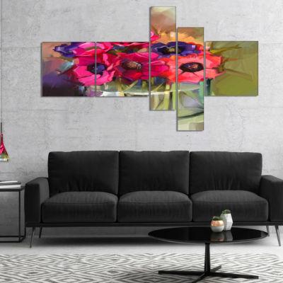 Designart Red Anonymous Flower Bouquet MultipanelFloral Canvas Art Print - 5 Panels