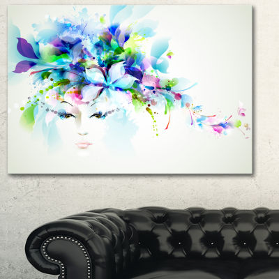 Designart Woman With Blue Flowers Floral Art Canvas Print