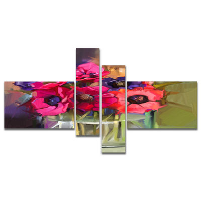 Designart Red Anonymous Flower Bouquet MultipanelLarge Floral Canvas Art Print - 4 Panels