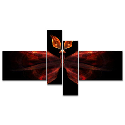 Designart Red Fractal Butterfly In Dark MultipanelAbstract Canvas Art Print - 4 Panels
