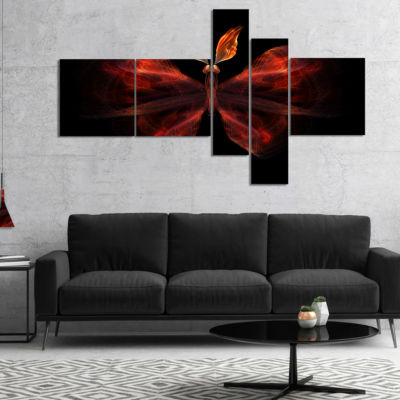 Designart Red Fractal Butterfly In Dark MultipanelAbstract Canvas Art Print - 5 Panels