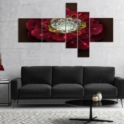 Designart Red Fractal Flower With White MultipanelFloral Art Canvas Print - 4 Panels
