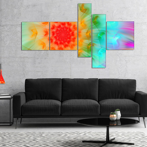 Designart Red Fractal Petals Dandelion MultipanelFloral Canvas Art Print - 4 Panels