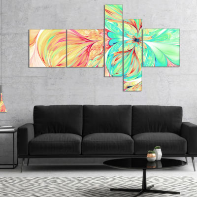 Designart Red Green Paper Flower Multipanel FloralArt Canvas Print - 4 Panels