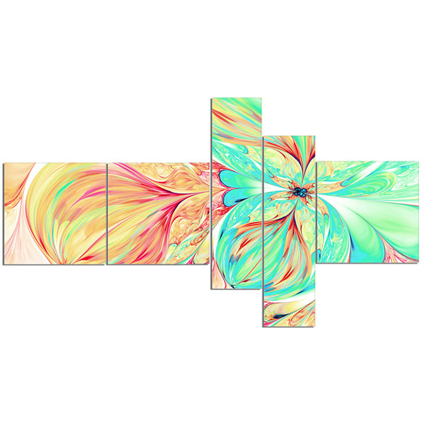Designart Red Green Paper Flower Multipanel FloralArt Canvas Print - 5 Panels