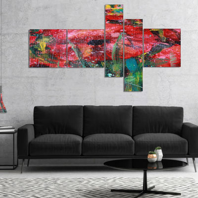 Designart Red Poppies Acrylic Drawing MultipanelExtra Large Floral Wall Art - 4 Panels
