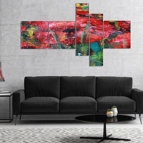 Designart Red Poppies Acrylic Drawing MultipanelExtra Large Floral Wall Art - 5 Panels