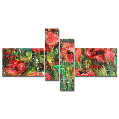Designart Red Poppies Watercolor Drawing Multipanel Extra Large Floral Wall Art - 4 Panels