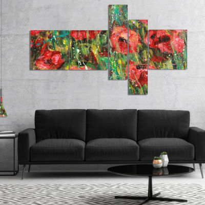 Designart Red Poppies Watercolor Drawing Multipanel Extra Large Floral Wall Art - 5 Panels