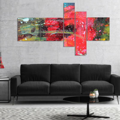 Designart Red Poppy Acrylic Drawing Multipanel Extra Large Floral Wall Art - 4 Panels