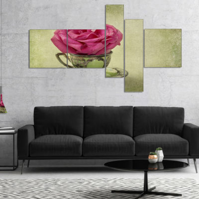 Designart Red Rose In Cup And Saucer Multipanel Floral Canvas Art Print - 5 Panels