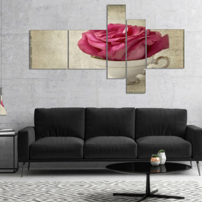 Designart Red Rose In Cup Photography MultipanelFloral Canvas Art Print - 5 Panels