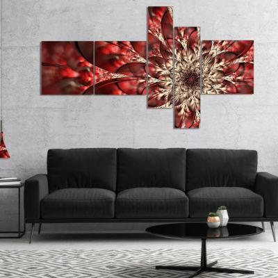 Designart Red Symmetrical Flowers Pattern Multipanel Floral Art Canvas Print - 5 Panels