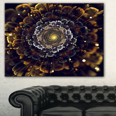 Designart Yellow Fractal Flowers With Violet Abstract Print On Canvas - 3 Panels