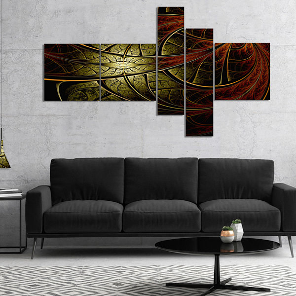 Designart Red Yellow Metallic Fabric Flower Multipanel Abstract Print On Canvas - 4 Panels