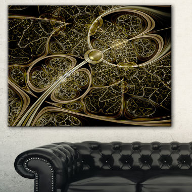Designart Yellow Metallic Fabric Pattern AbstractPrint On Canvas