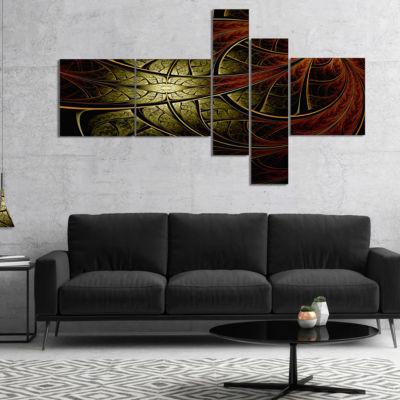 Designart Red Yellow Metallic Fabric Flower Multipanel Abstract Print On Canvas - 5 Panels