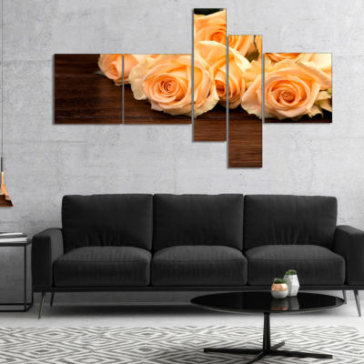 Designart Roses On Wooden Surface Photo MultipanelFloral Canvas Art Print - 4 Panels