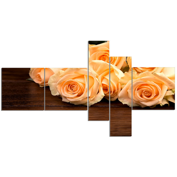 Designart Roses On Wooden Surface Photo MultipanelFloral Canvas Art Print - 5 Panels